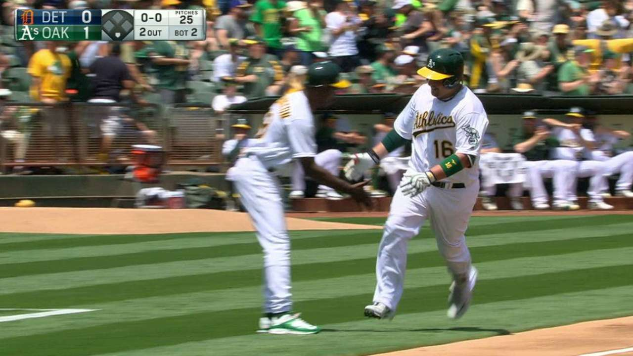 Butler, Davis fuel A's 17-hit attack in rout of Tigers