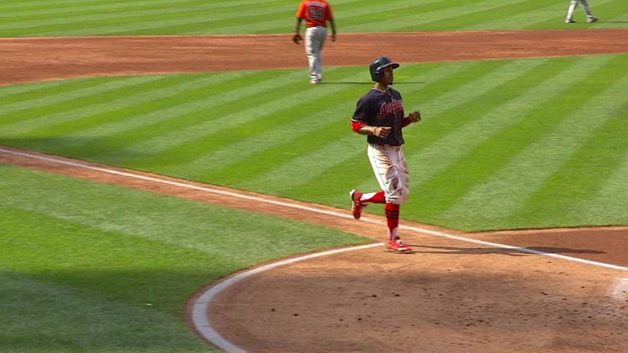 Tribe evens series with big singles, steals