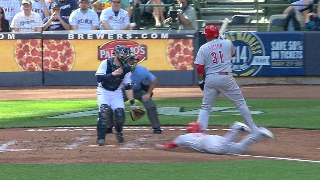 Simon HBP while Holt steals home