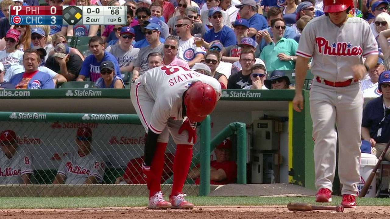 Galvis gets hit by pitch