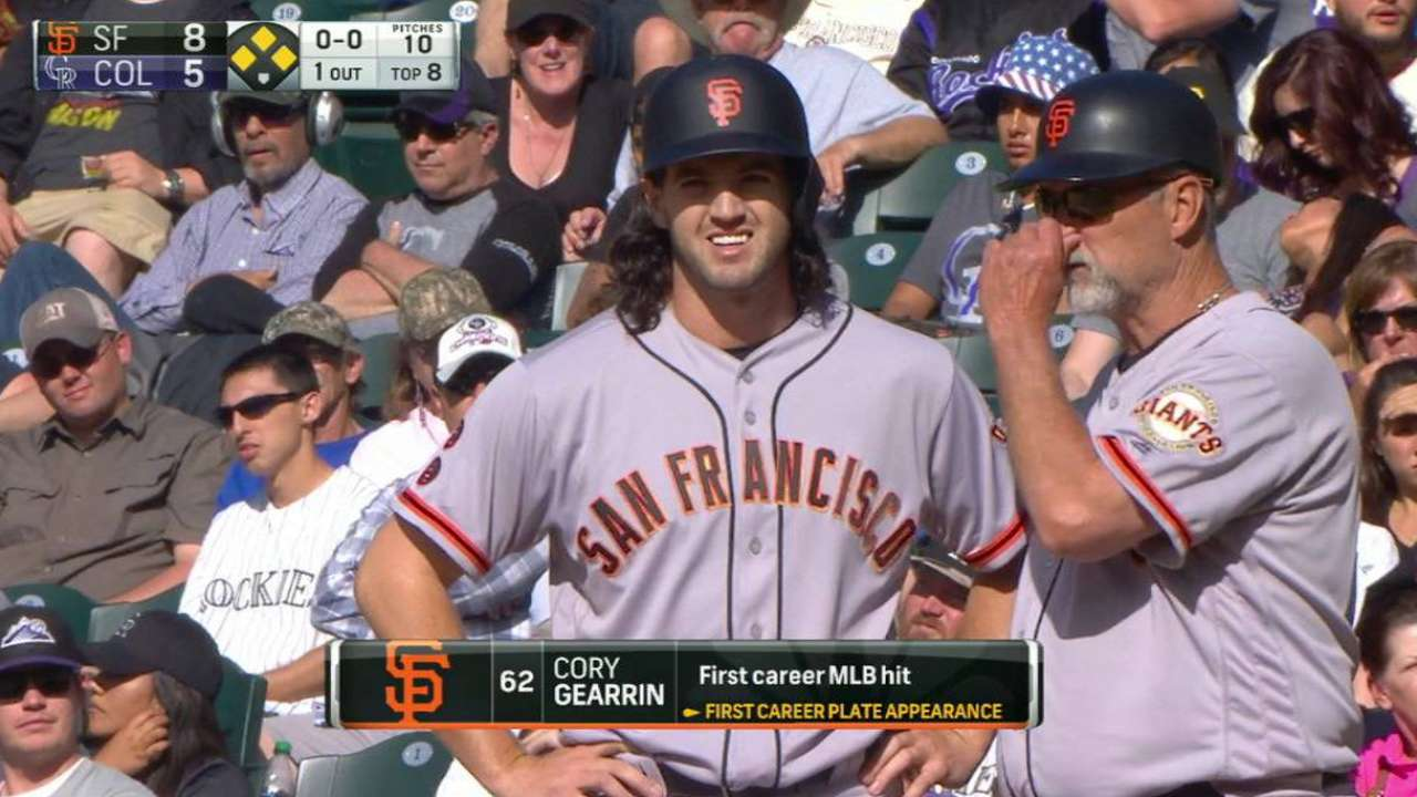 Gearrin's first MLB hit a remarkable feat