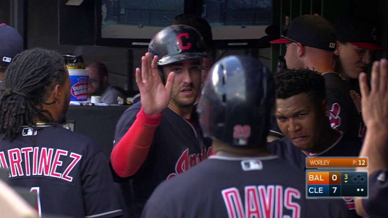 Chisenhall scores on double play