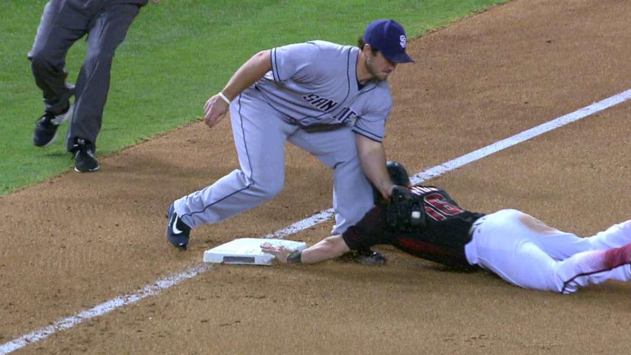 Owings swipes third base