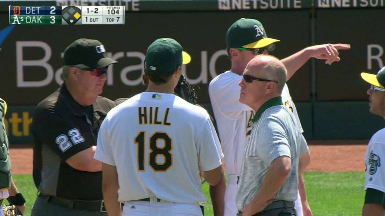 Hill exits with groin strain, is day to day
