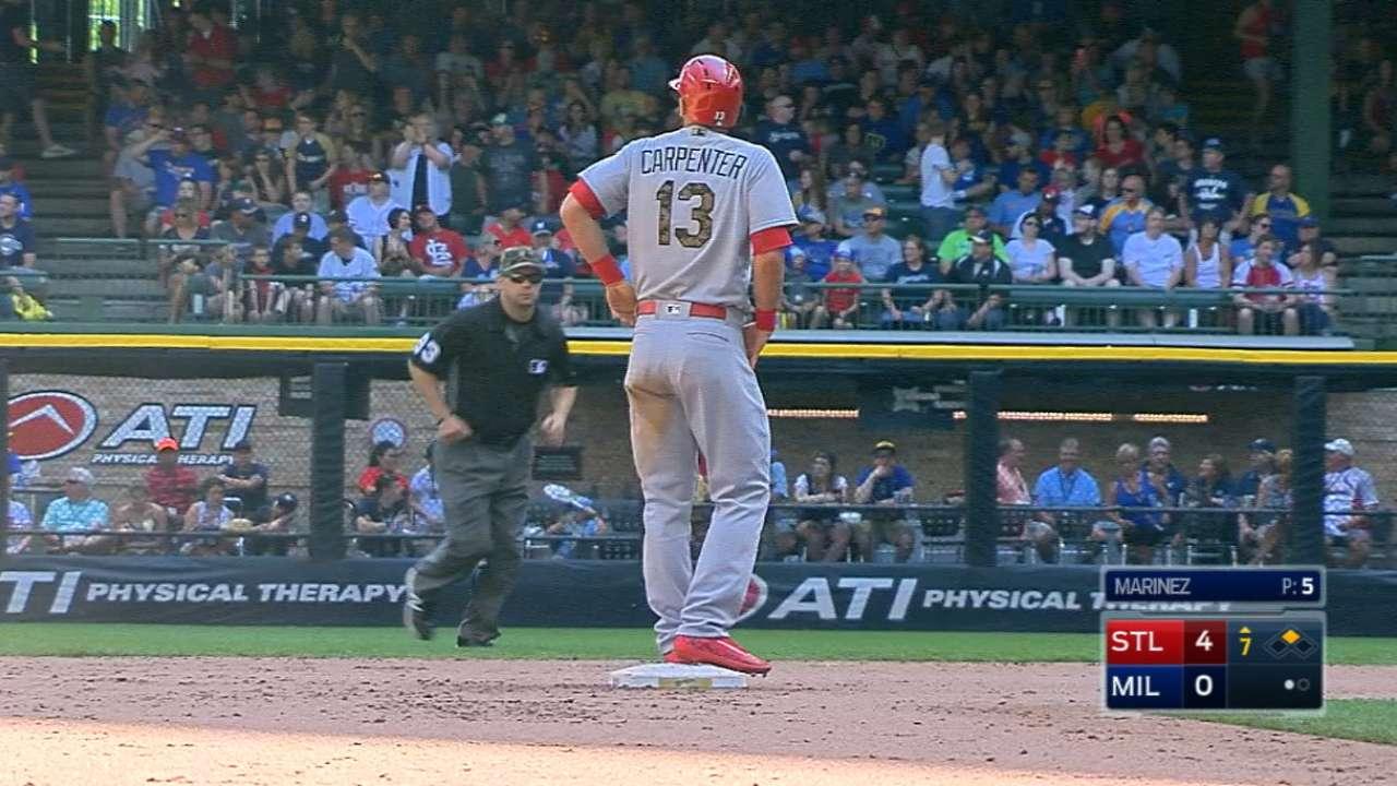 Carpenter's four-hit game