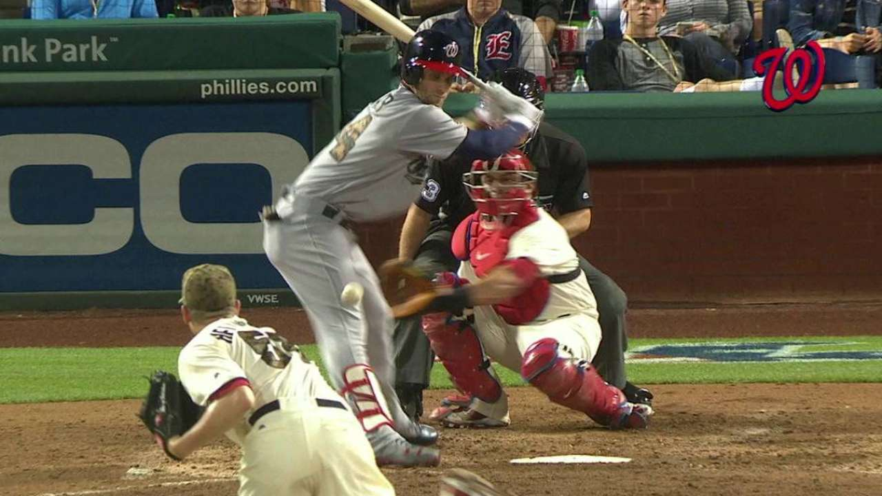 Harper day to day after pitch strikes knee