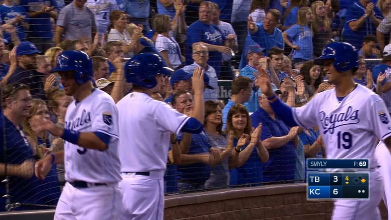 Royals thump Rays with season-high 18 hits
