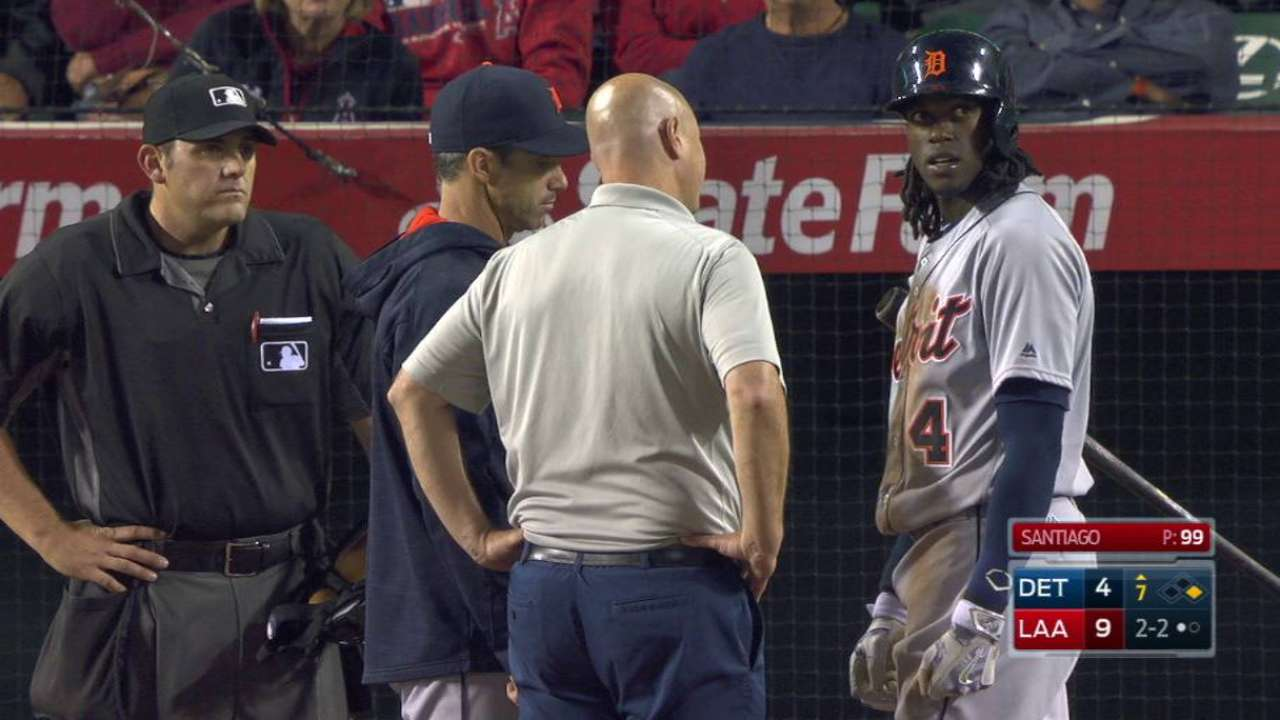 Maybin exits the game