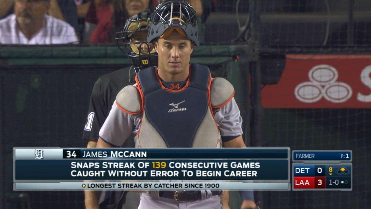 McCann's historic errorless streak ends