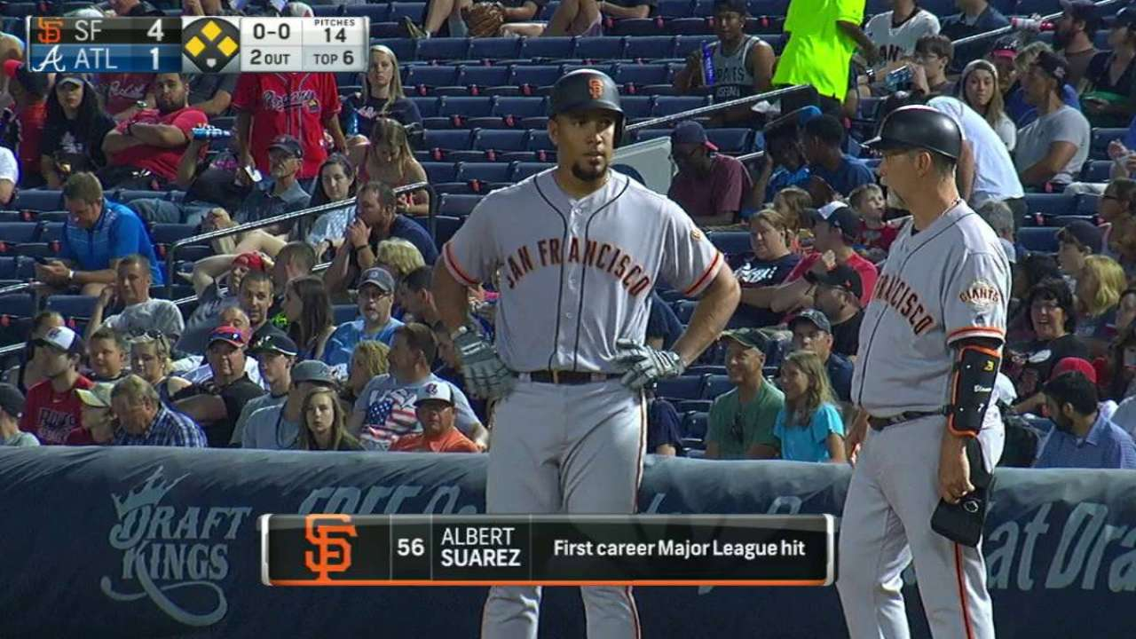 Suarez's first hit plates run
