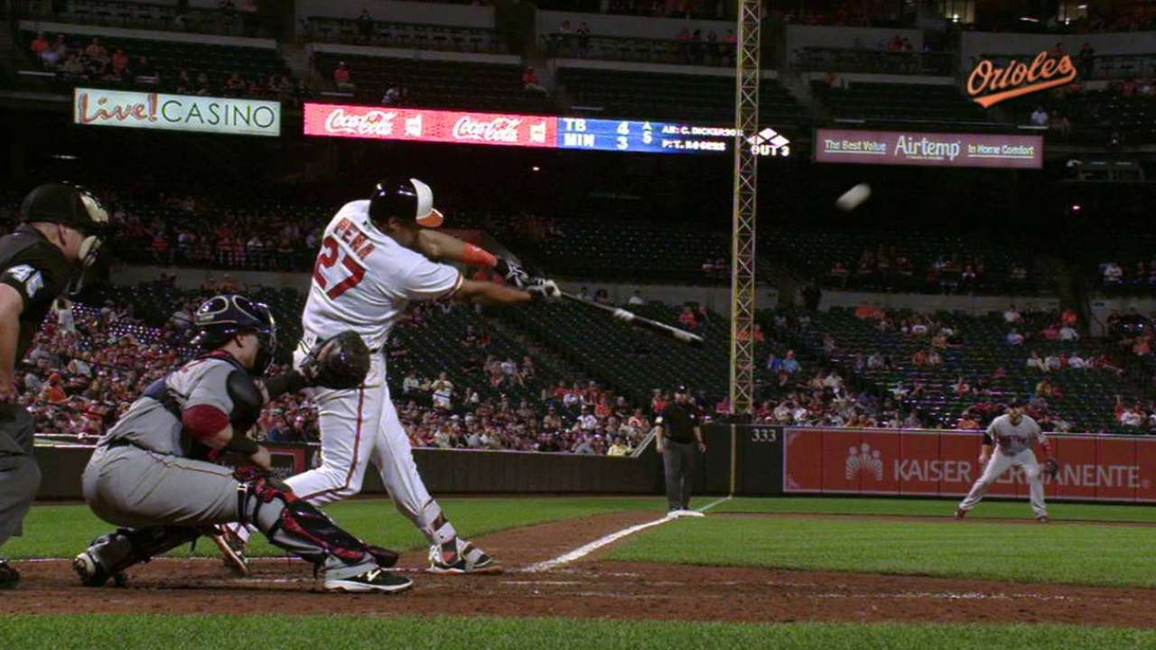 Pena gets in on O's HR barrage with his 1st