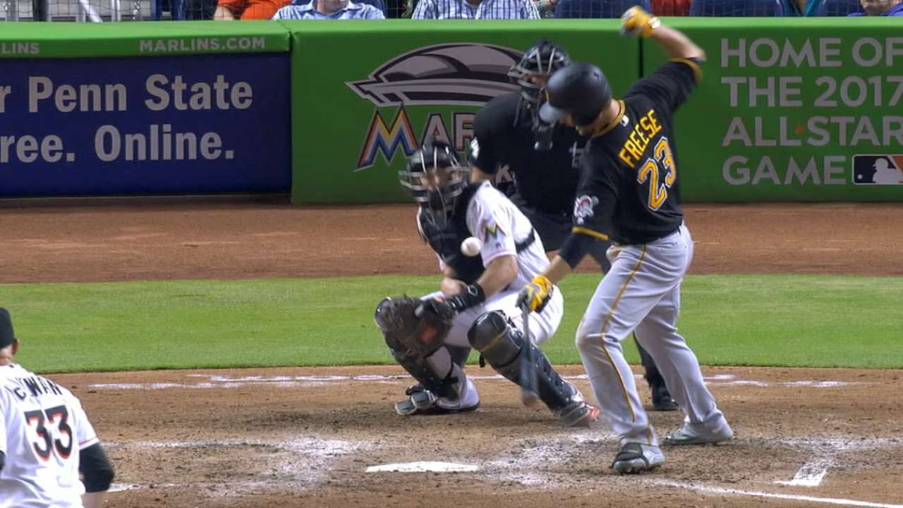 Freese, Cervelli, Mercer sit out after being hit by pitches