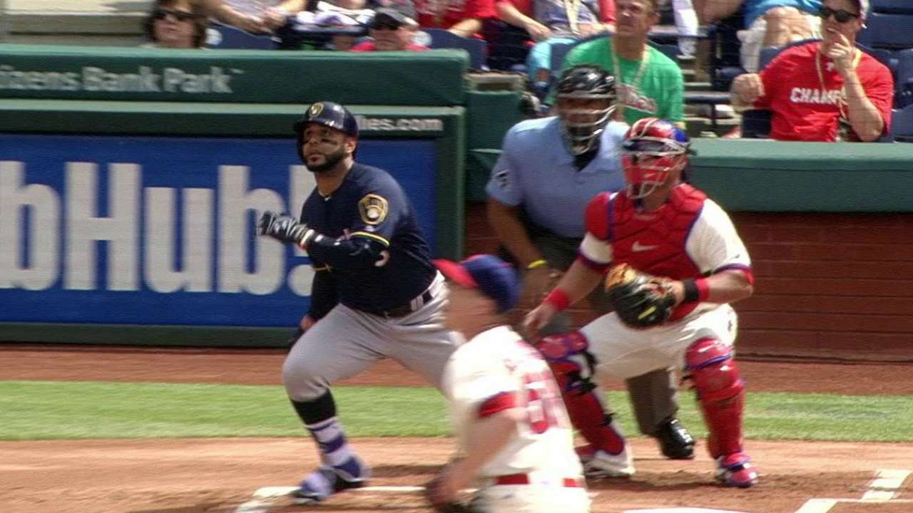 Villar's leadoff home run