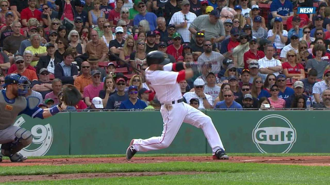 Pedroia's double in the first