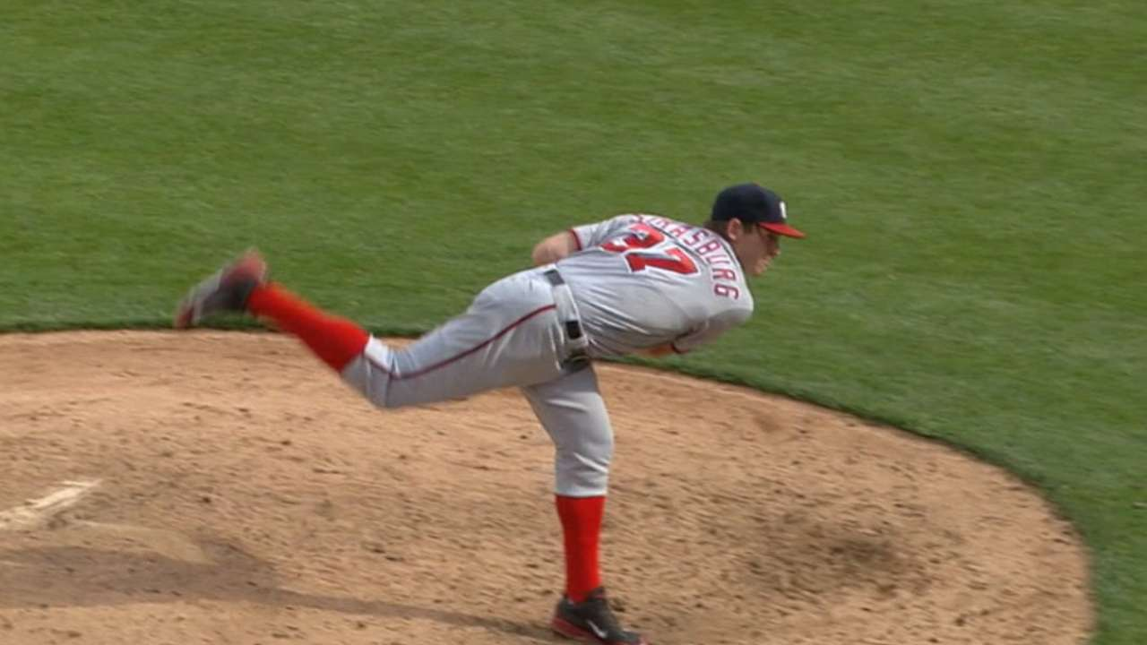 Strasburg fans ten, exits game