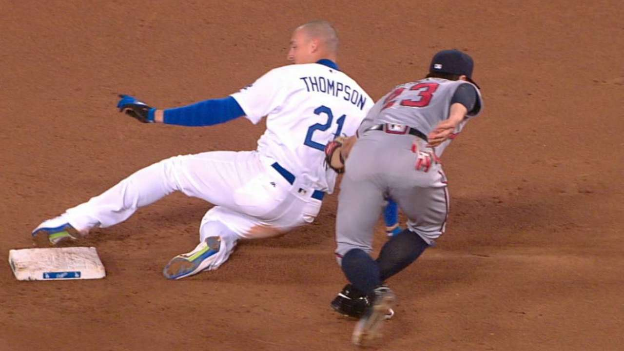 Thompson safely swipes second
