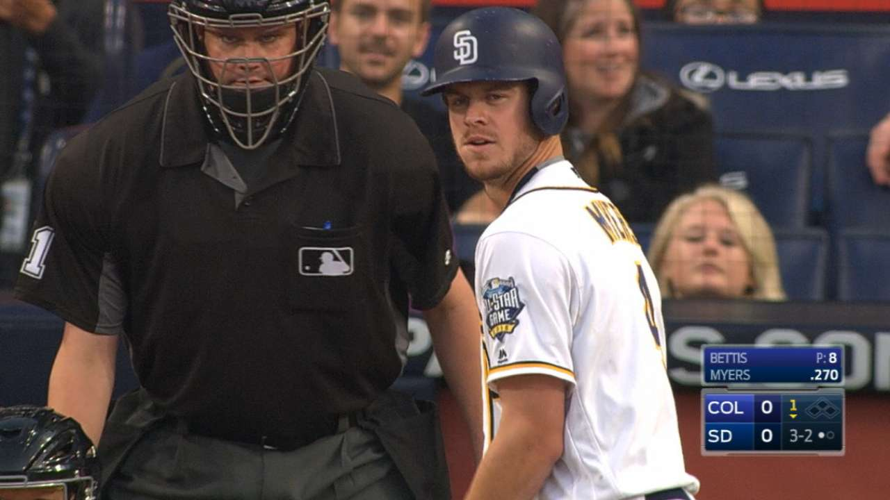 Myers flirts with cycle as Padres edge Rockies