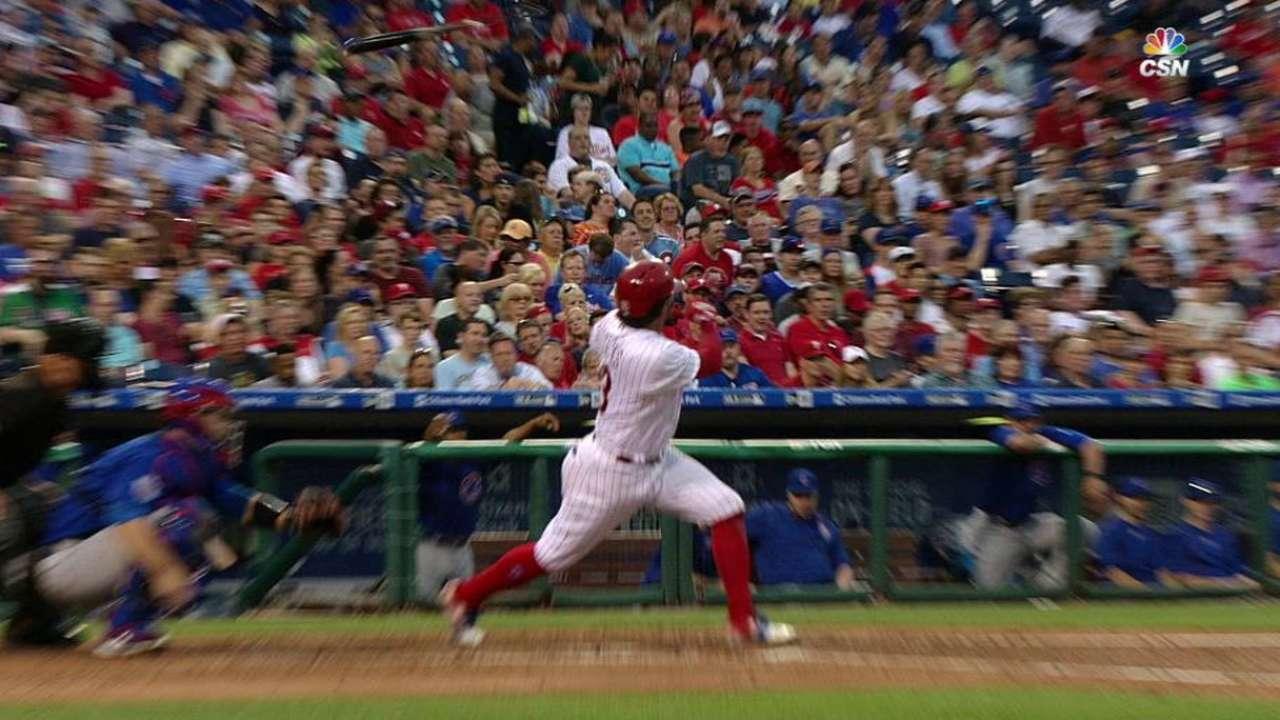 Galvis' bat hits fan in stands