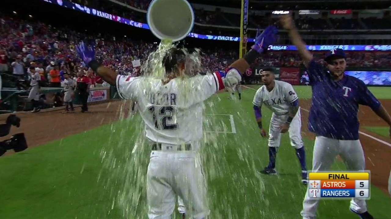 Con doblete de Odor Rangers dejaron tendidos a los Astros