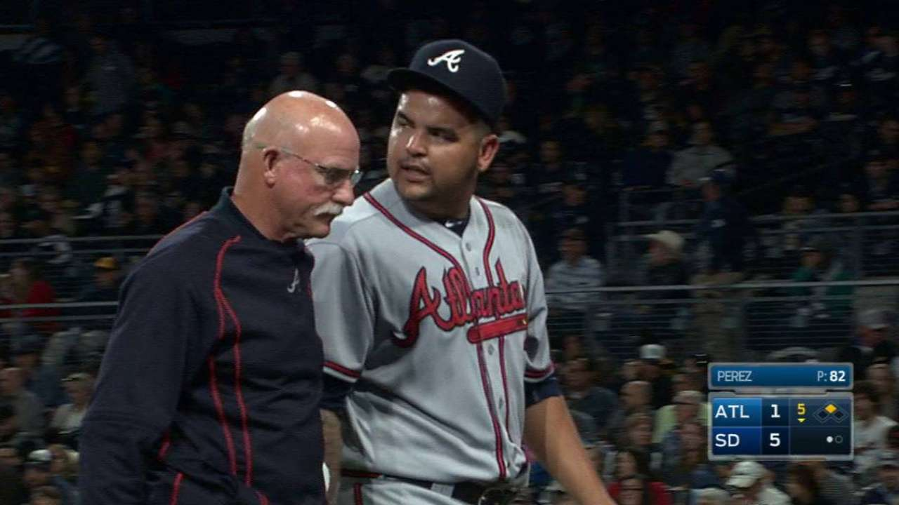 Triceps soreness leads to early exit for Perez