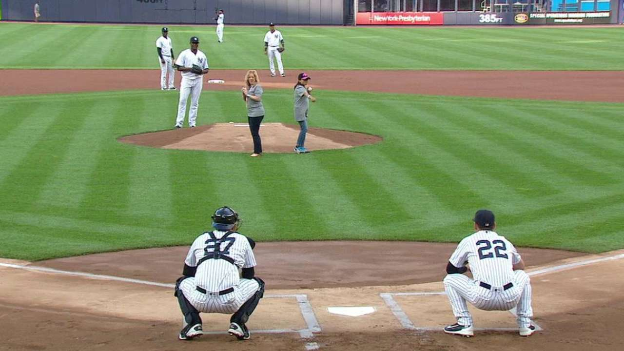 Sardone throws out first pitch
