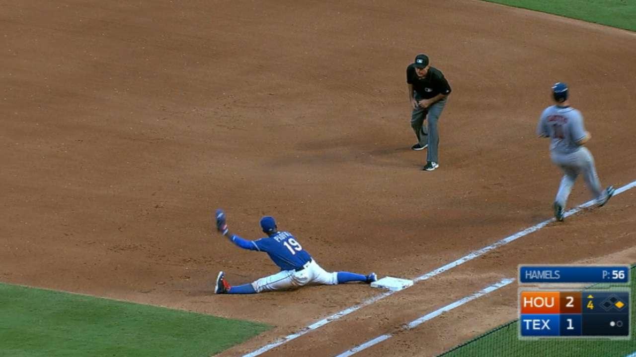Rangers' slick double play