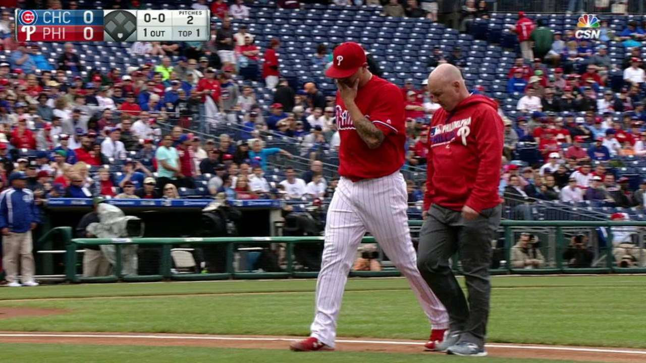 Phillies place Velasquez on DL with biceps strain