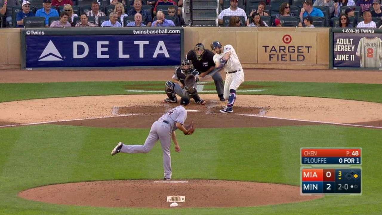 Plouffe crushes two-run shot