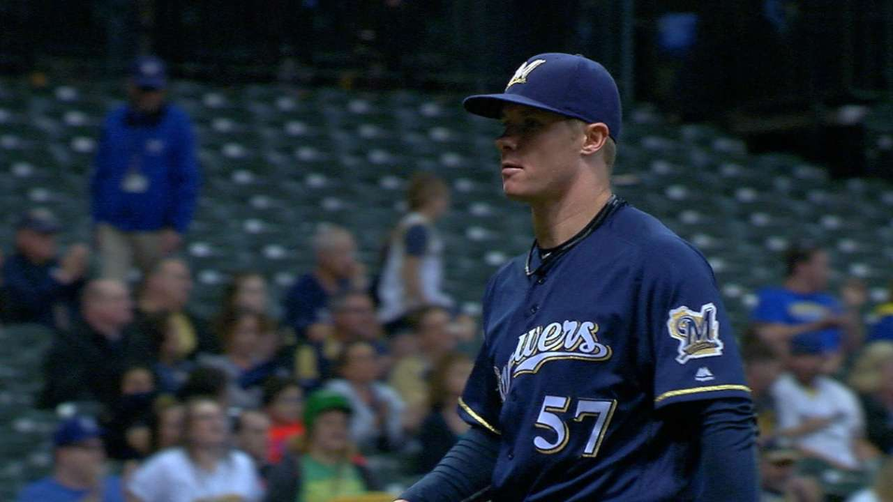 Anderson flirts with no-no as Brewers blank A's