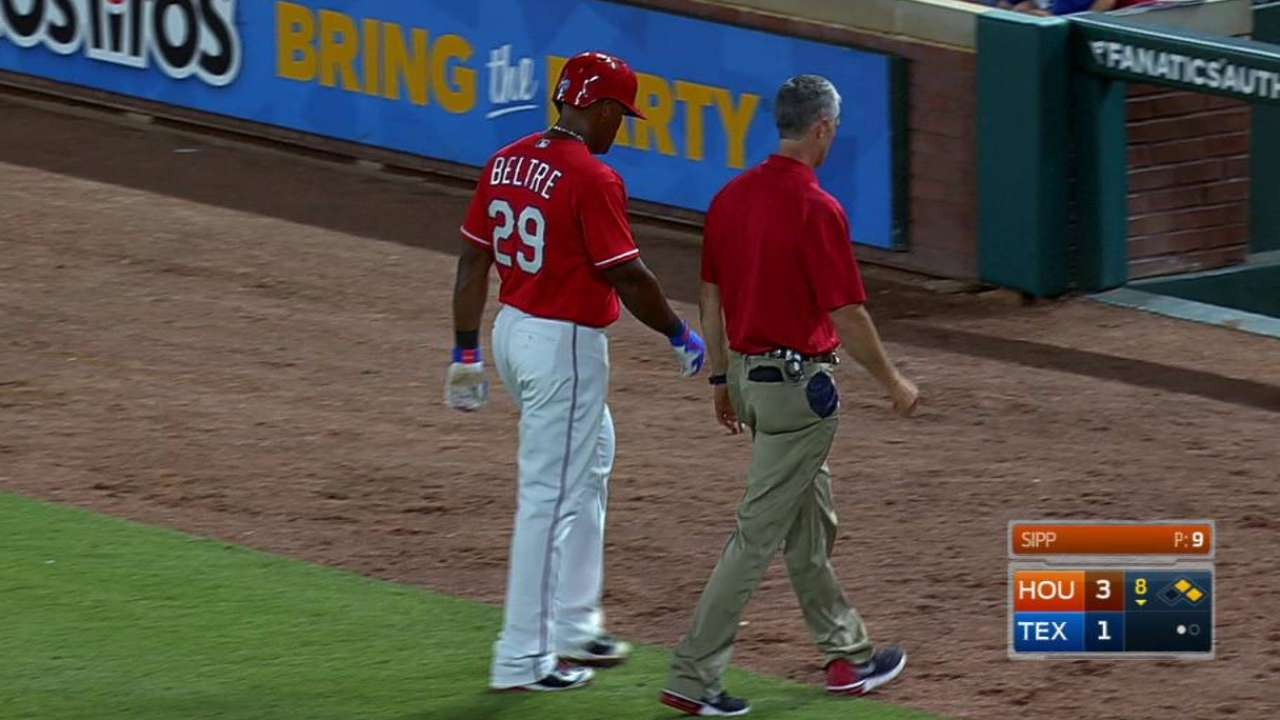 Beltre leaves game with tight left hamstring