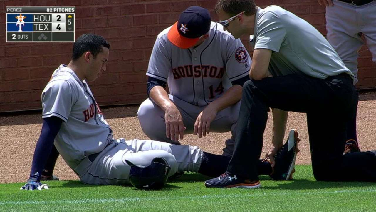 Correa exits game with injury
