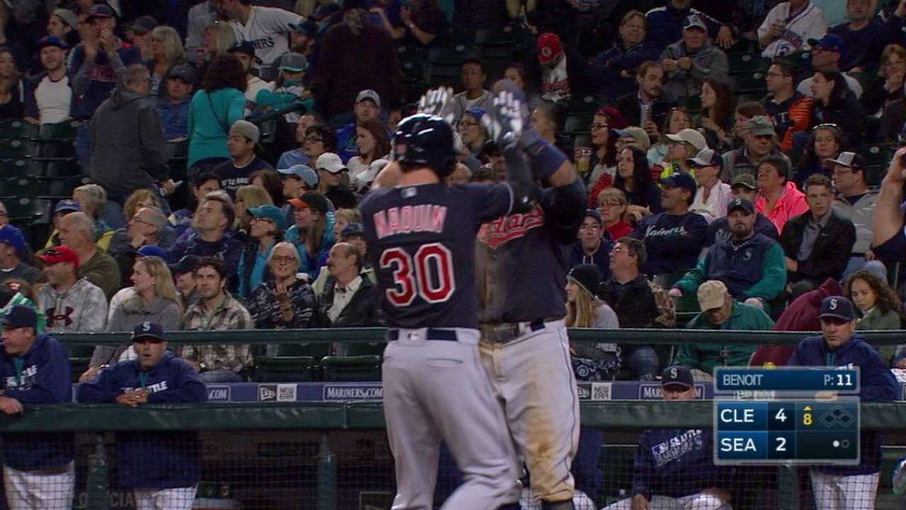 Naquin's blast lifts Tribe to Seattle split
