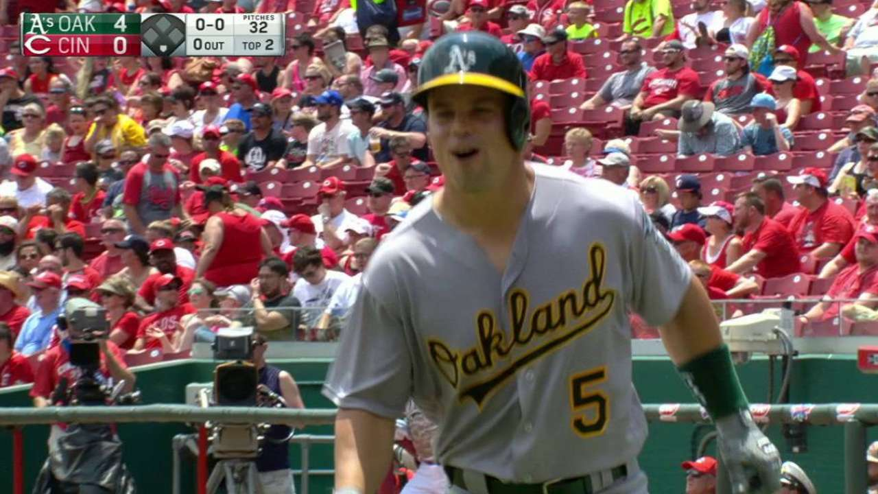 Trio of homers leads A's past Reds in finale