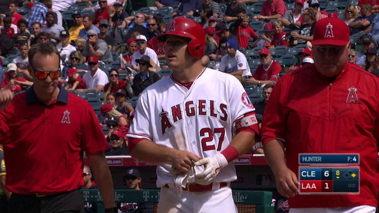 Trout leaves game after HBP