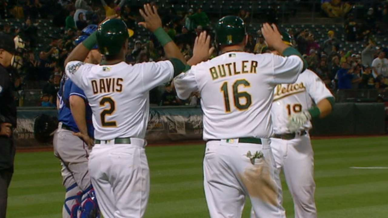 A's five-run 4th inning