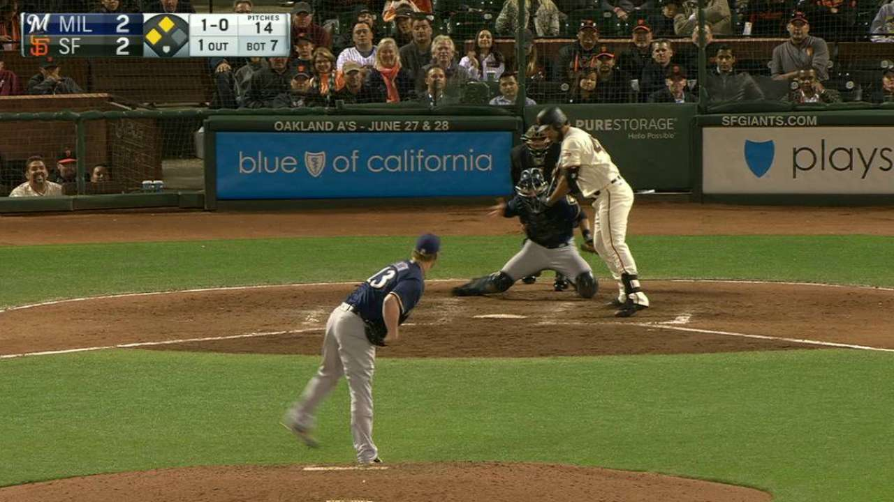Giants edge Brewers behind strong Bumgarner