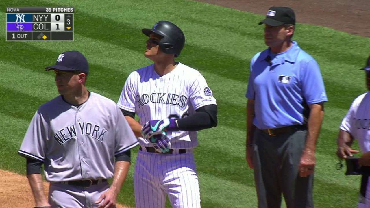 Bettis finds form to help Rockies down Yanks