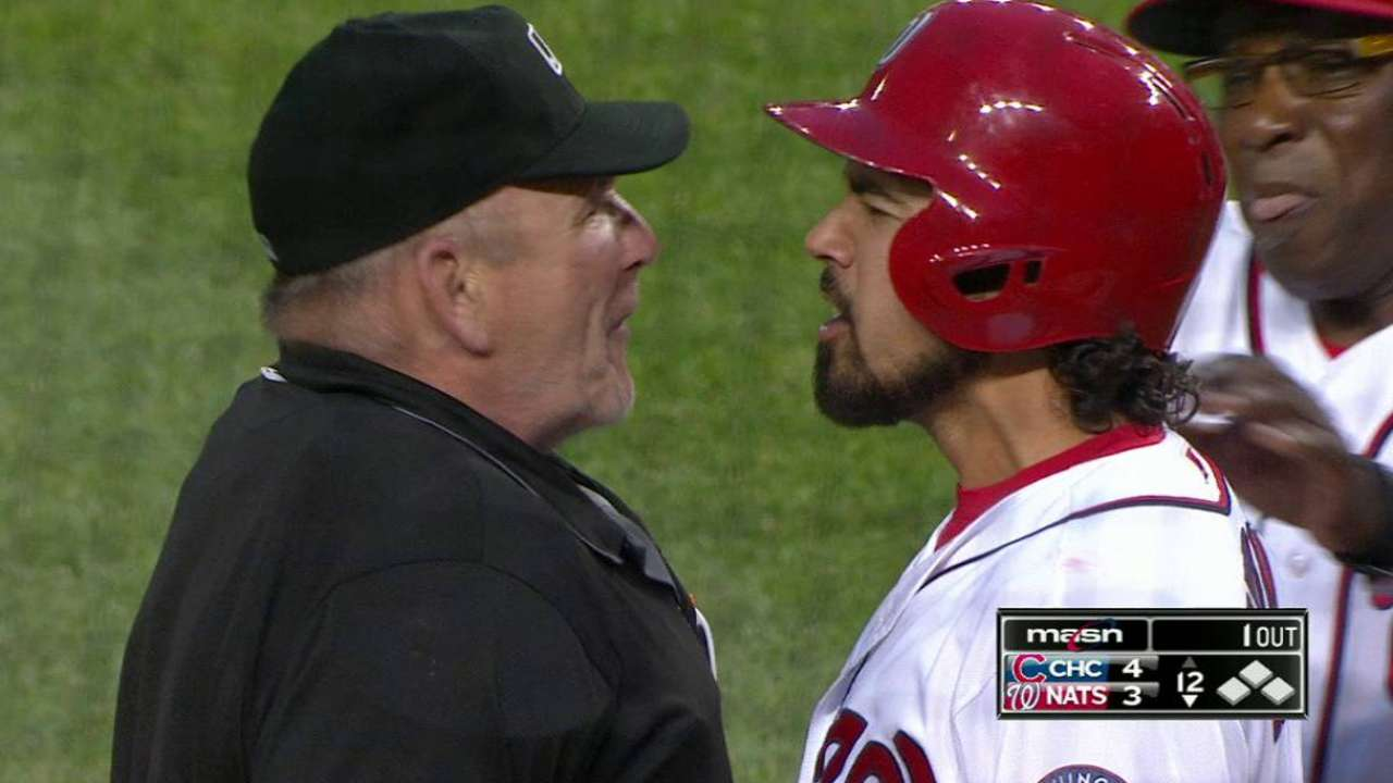Rendon strikes out, gets tossed