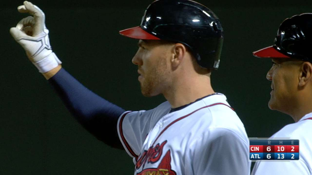 Freeman singles for the cycle