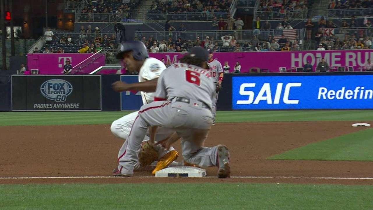 Upton Jr. steals third base