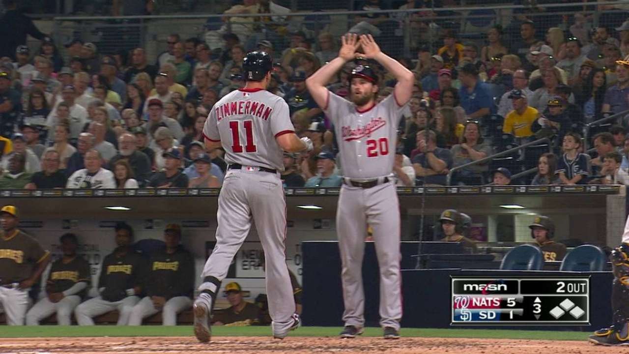 HRs back Ross in Nats' win over Padres