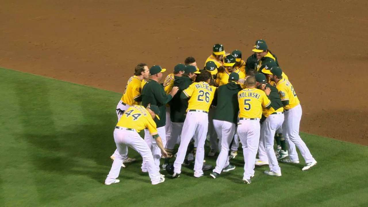 Burns' walk-off sends A's past Angels in wild 9th