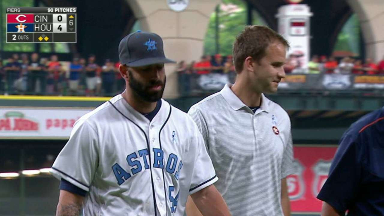 Fiers leaves the game