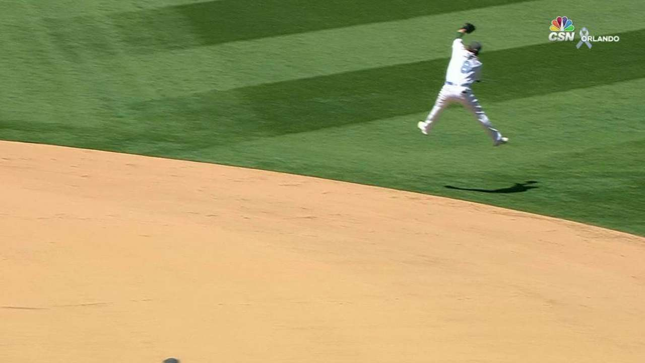 Lowrie's leaping grab