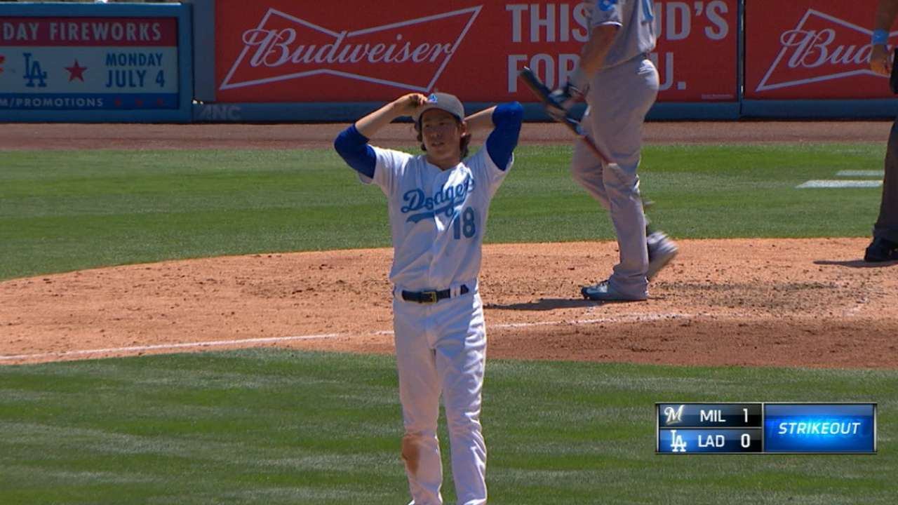 Maeda fans eight vs. Brewers