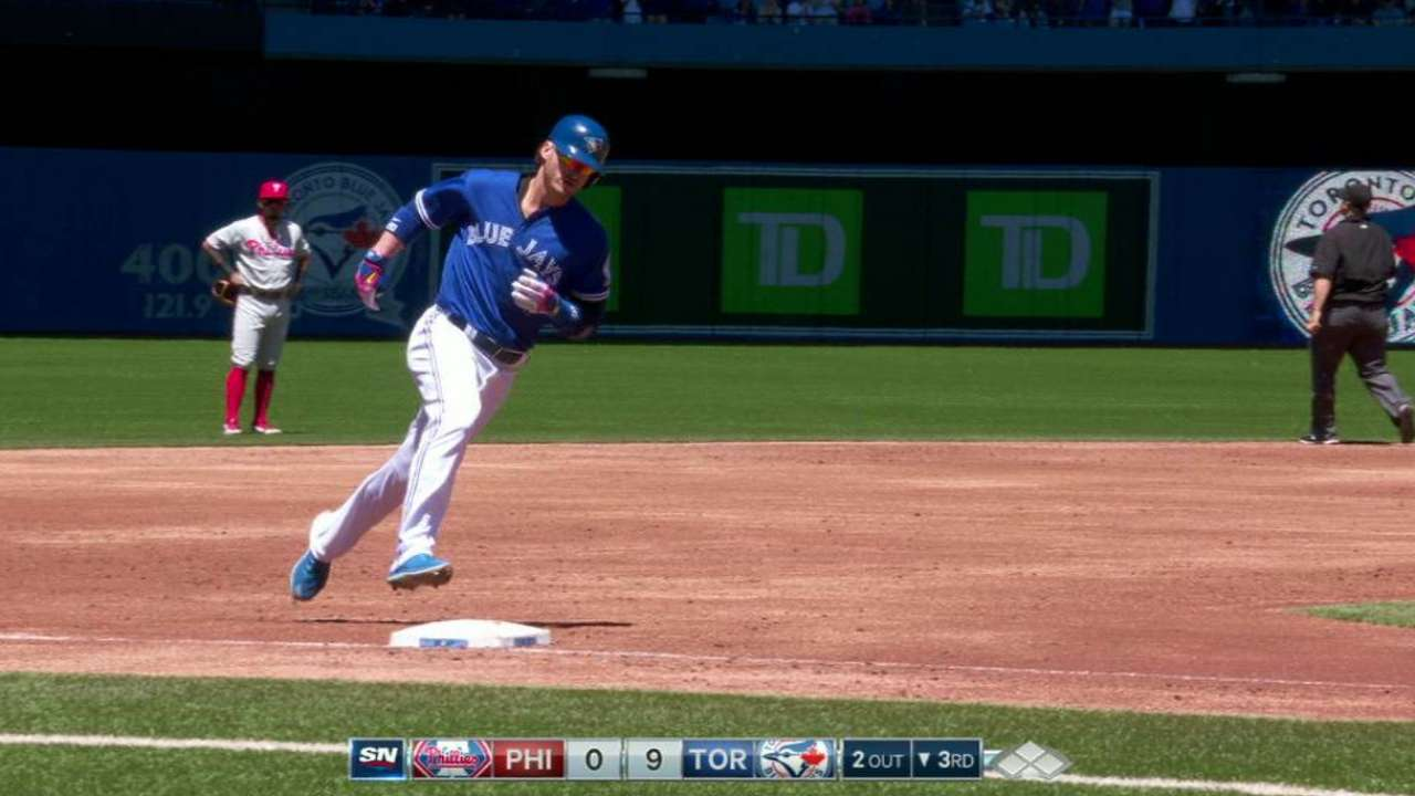Slam from Donaldson highlights rout of Phils