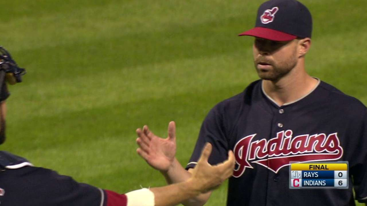 Tribe wins 5th straight behind Kluber shutout