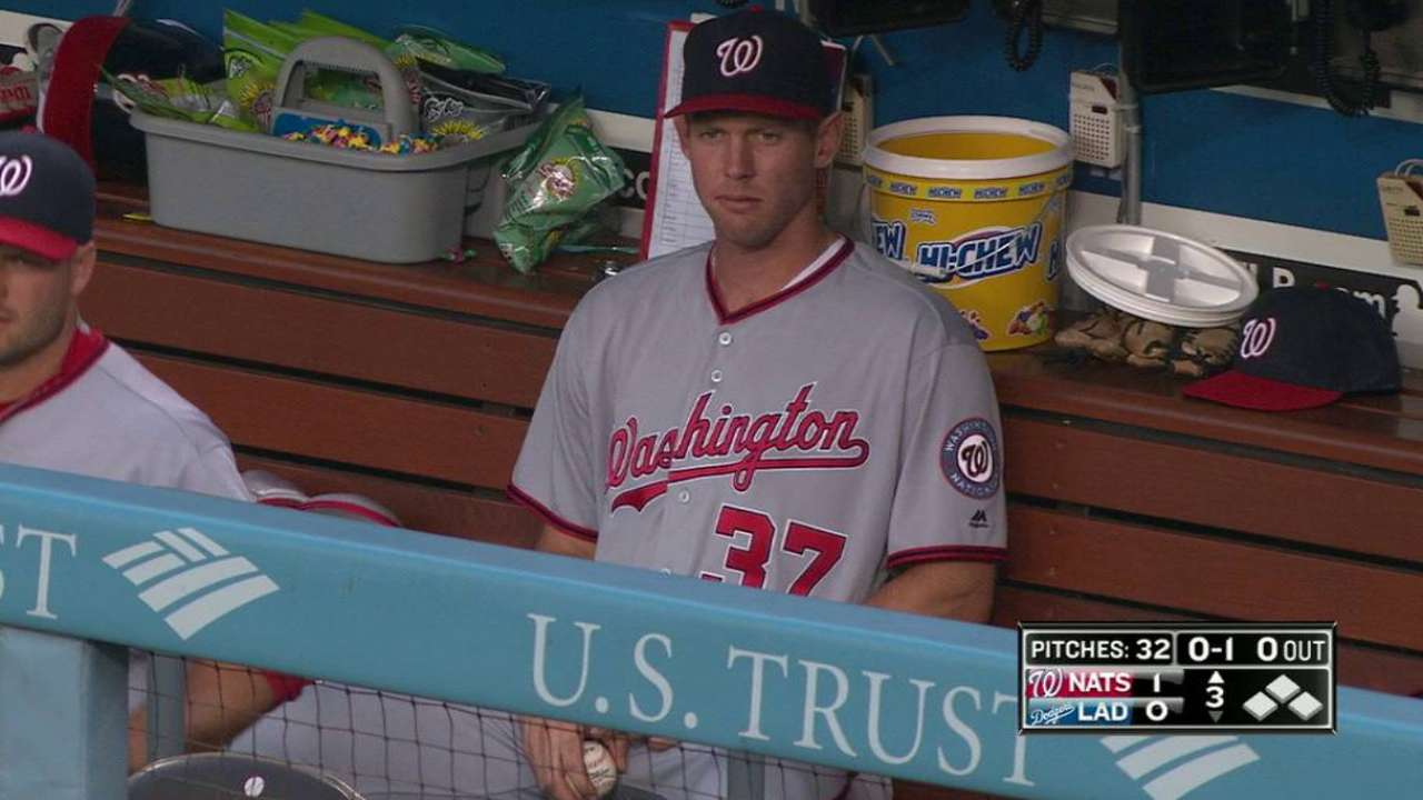 Strasburg scratched from start with back strain