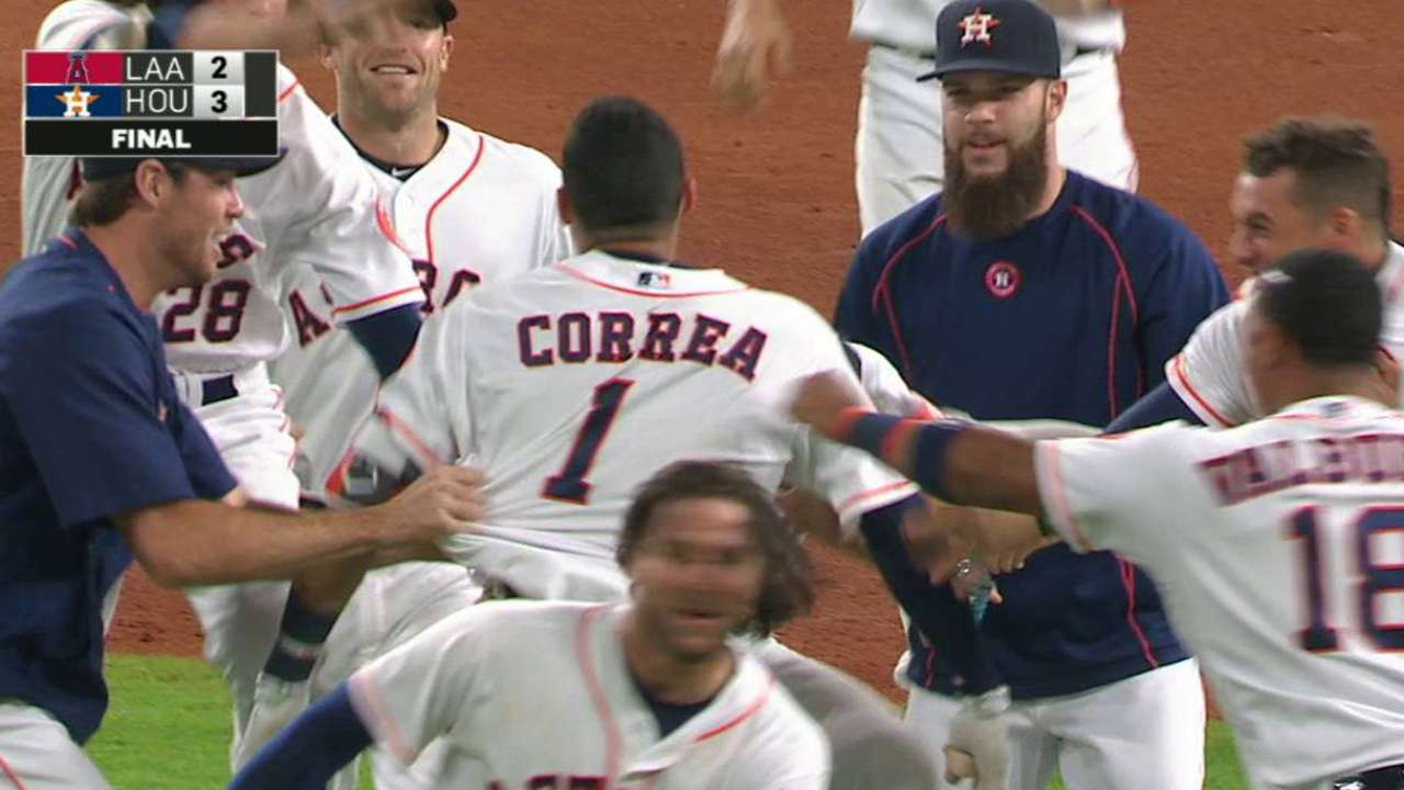 Correa's walk-off 2B, big night sinks Angels