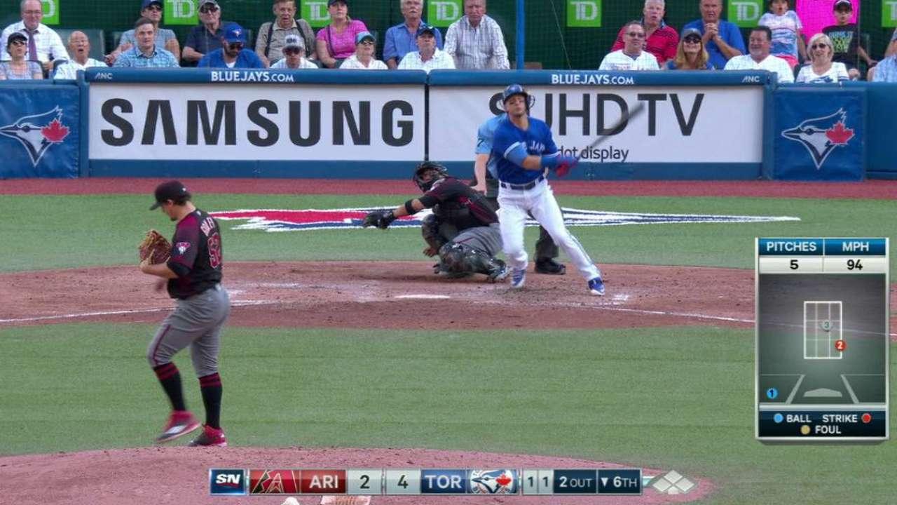 Blue Jays' 3 homers help end D-backs' streak